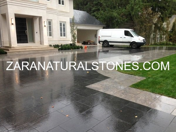 Jet Black granite flagstone pavers Toronto Kleinburg Whitby
