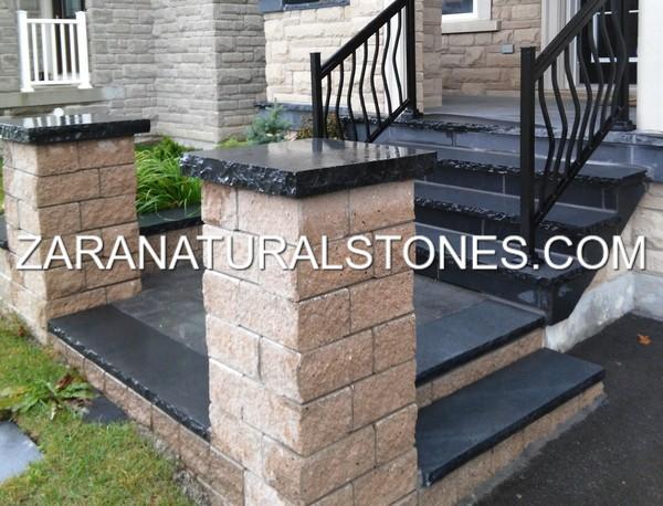 Natural Stone Pillars Caps : Kota black pier caps toronto vaughan kleinburg bolton whitby