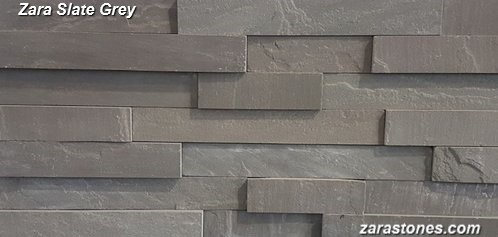 Slate Grey Step Wall Facing Fireplace Veneer Stones